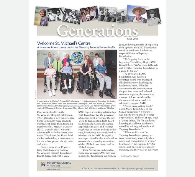 Generations Newsletter cover