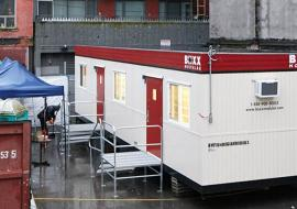 This trailer is VCH's fifth overdose prevention site. This modified first aid trailer at 62 East Hastings Street replaces a pop-up tent that opened in September. The trailer was donated by EllisDon Construction and Boxx Modular Canada. Photo courtesy of Black Diamond Group.