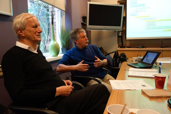 Dr. Jiri Frohlich (left), director of healthy heart clinical trials at St. Paul's Hospital, discusses the potential for a national hypercholesterolemia registry with Dr. Jacques Genest, Scientific Director of the Centre for Innovative Medicine at the McGill University Health Centre.